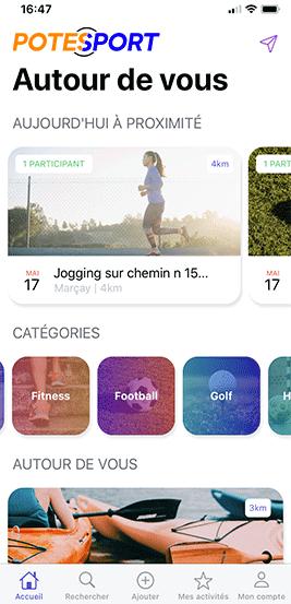 Screen autour de vous de l'application potesport