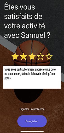 Screen d'avis de l'application potesport