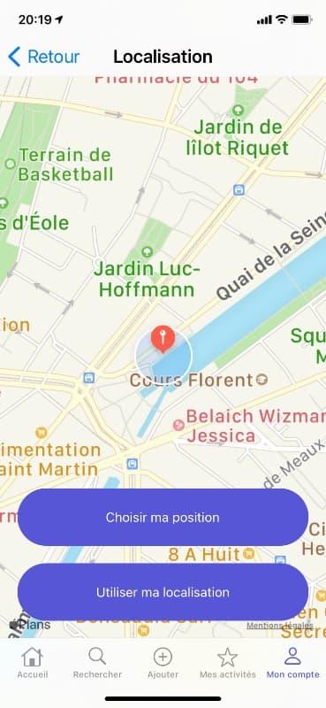 Screen de localisation sur l'application