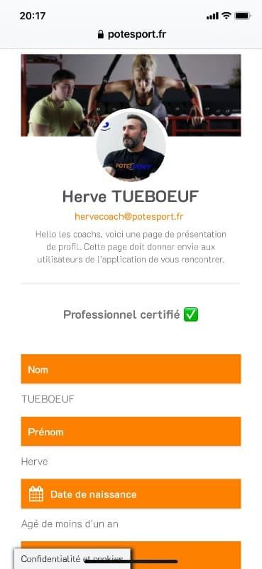 Screen de la page profil coach sur l'application