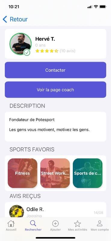 Screen voir la page coach sur l'application
