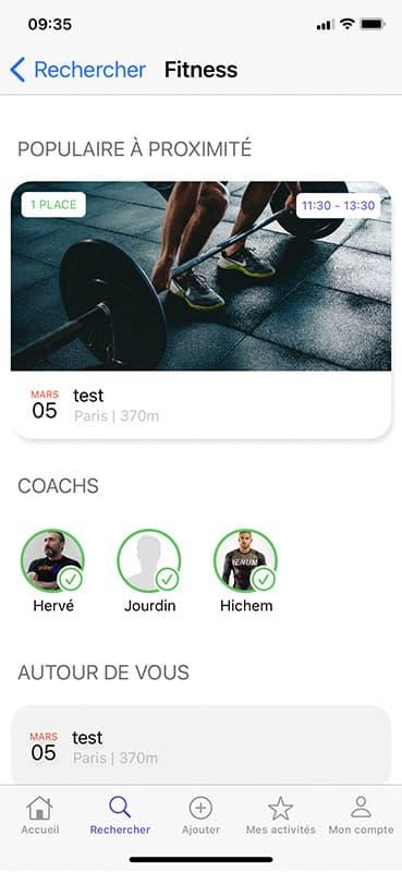 Screen fiche de sport avec les coach de l'application