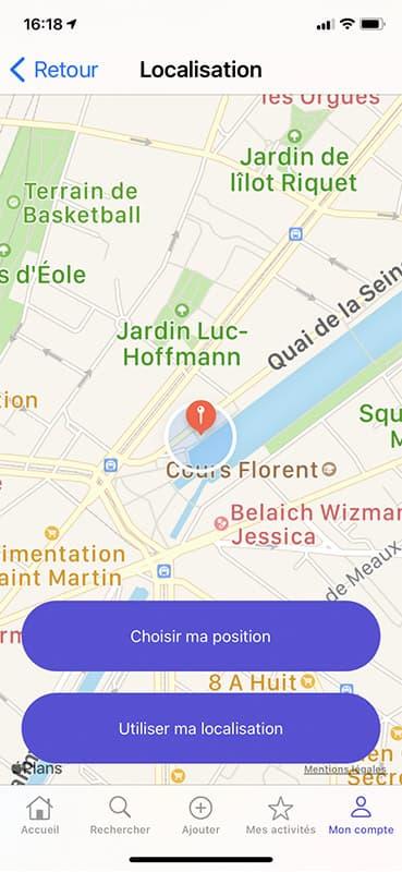 Screen localisation de l'application