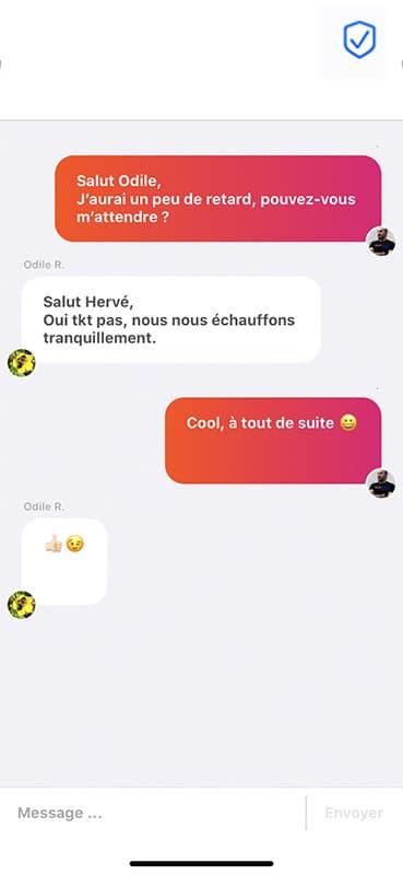 Screen conversation de messagerie de l'application