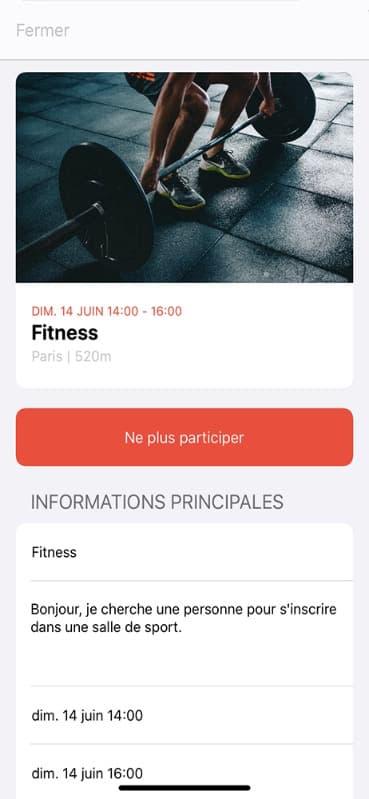 Screen annulation de participation sur l'application