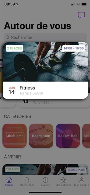 Screen autour de vous de l'application