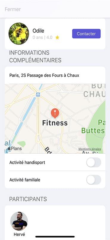 Screen contacter par message sur l'application