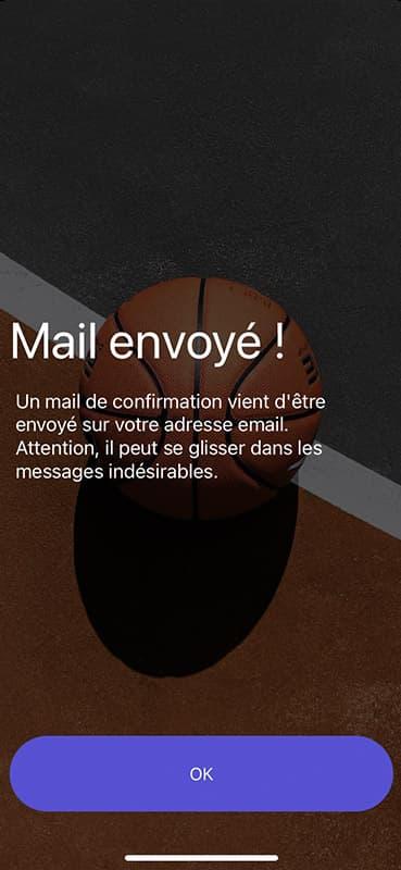 Screen de mail envoyé de l'application