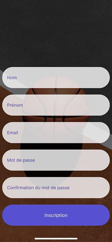 Screen d'inscription de l'application