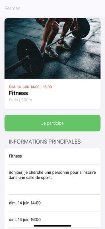 Screen participer à une activité sur l'application