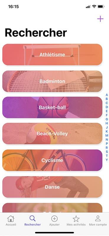 Screen de recherche de sport de l'application