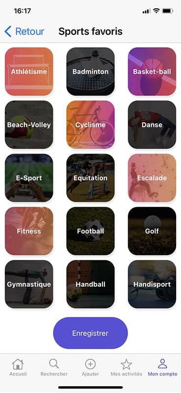 Screen sports favoris de l'application