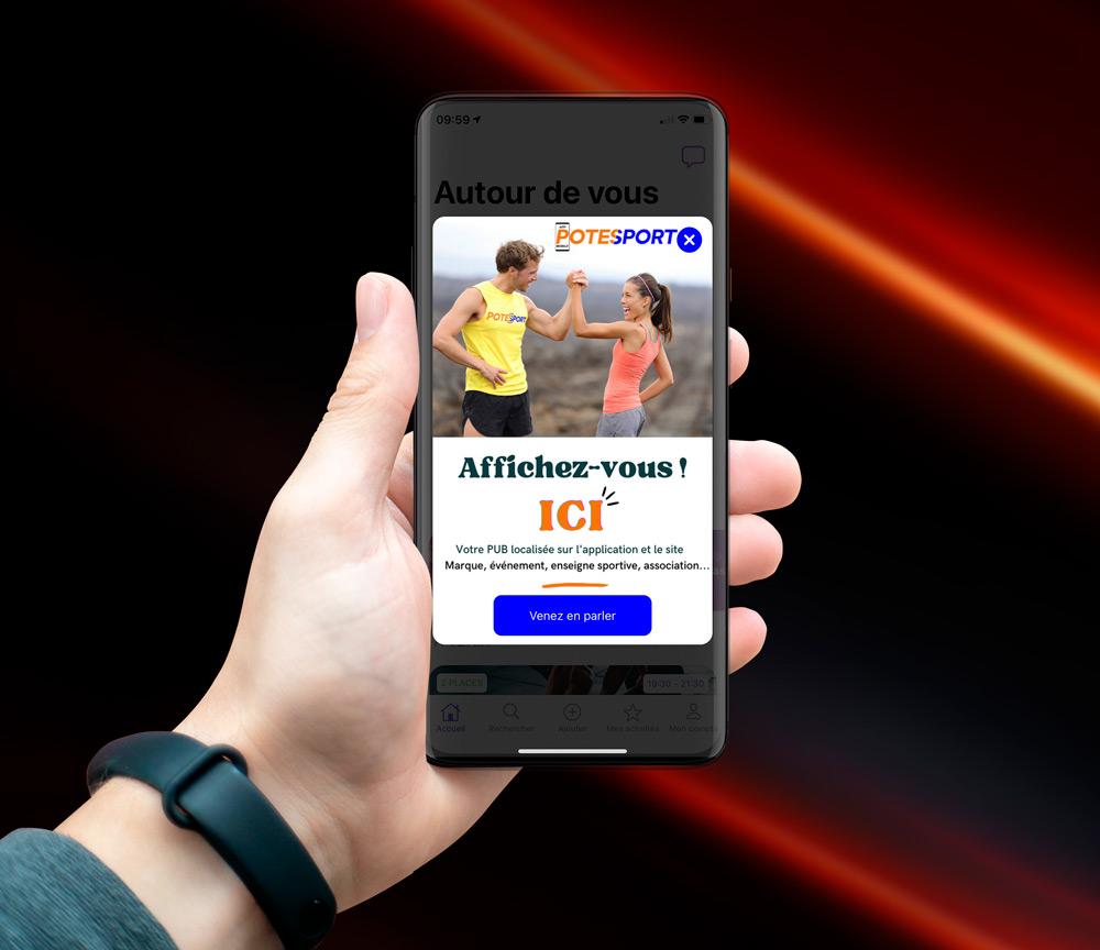 Affichez votre pub sur l'application Potesport